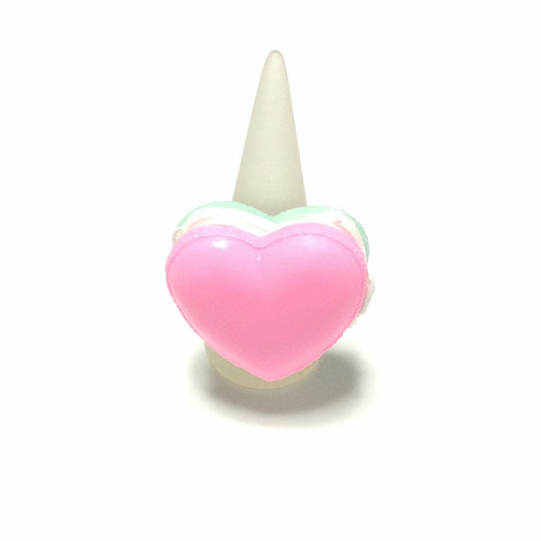 Pastel Heart Macaron Ring in Pink x Mint from Pastel Skies