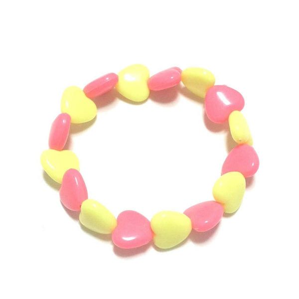 Pastel Love Candy Hearts Bracelet in Dark Pink x Yellow from Pastel Skies