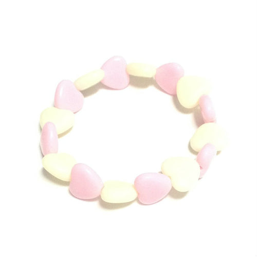 Pastel Love Candy Hearts Bracelet in Light Pink x Off White from Pastel Skies
