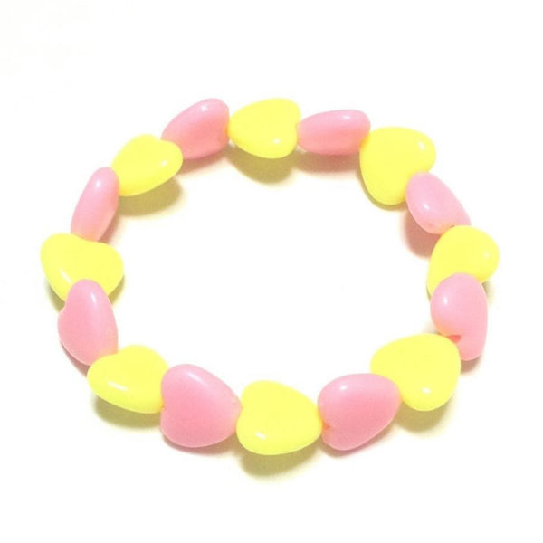 Pastel Love Candy Hearts Bracelet in Pink x Yellow from Pastel Skies