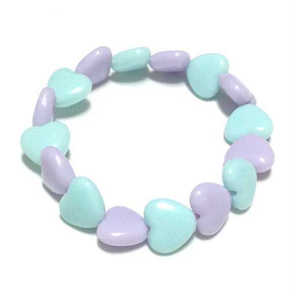 Pastel Love Candy Hearts Bracelet in Sax x Lavender from Pastel Skies