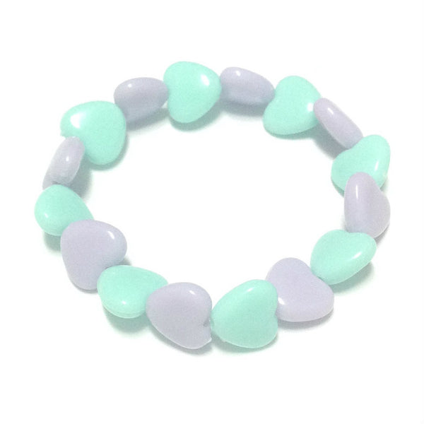 Pastel Love Candy Hearts Bracelet in Turquoise x Lavender from Pastel Skies