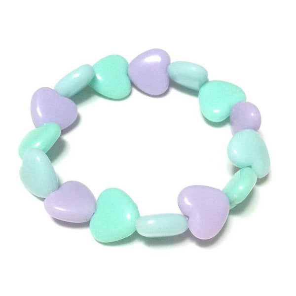 Pastel Love Candy Hearts Mini Bracelet in Lavender x Sax x Turquoise from