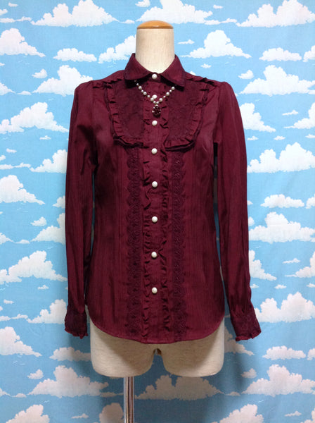 Pearl Bead Rose Chain Blouse in Wine from Axes Femme
