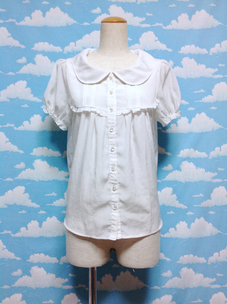 Pintuck Frill Blouse in Off White from Amavel