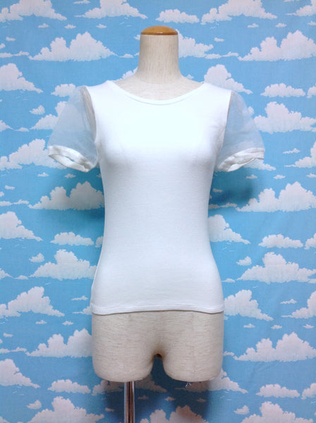 Plain Organza Sleeve Cutsew in White from BROWNY