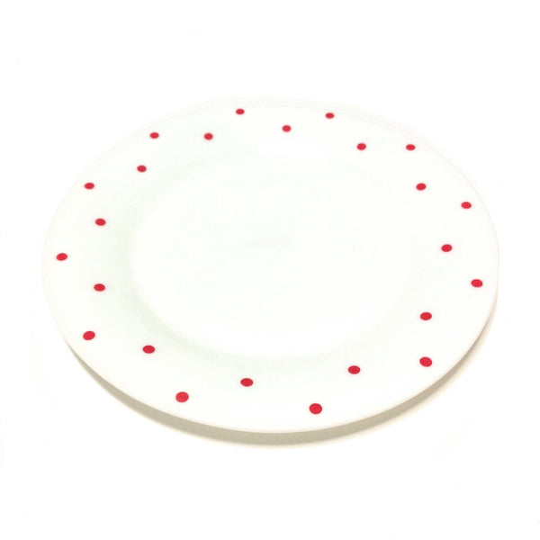 Polka Dot Plate in White x Red from Chocoholic