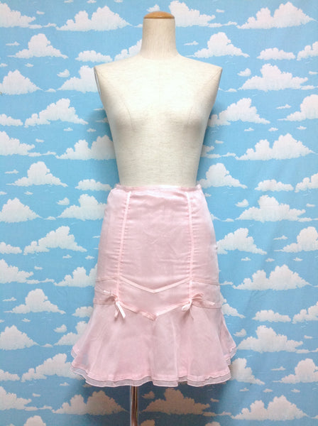 Polka Dot Ribbon Decoration Skirt in Pink