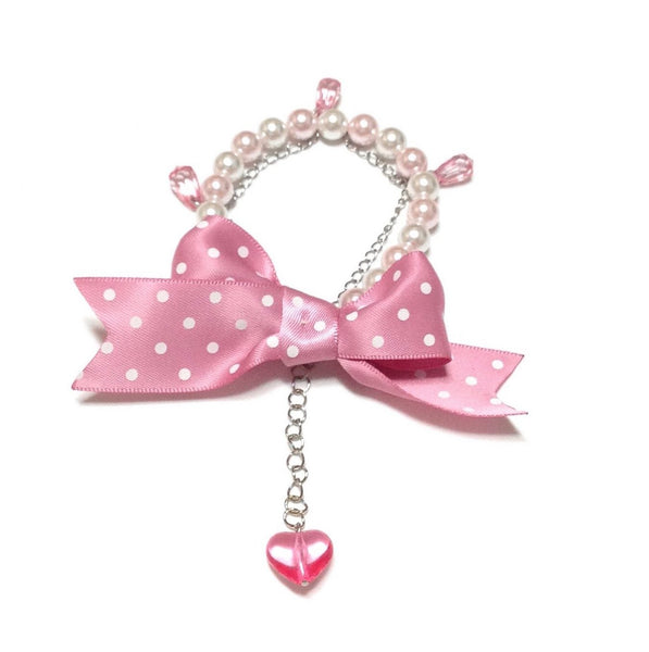 Polka Dot Ribbon Double Bracelet in Pink from Angelic Pretty