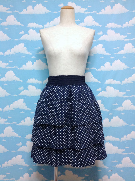 Polka Dot Skirt in Navy x White