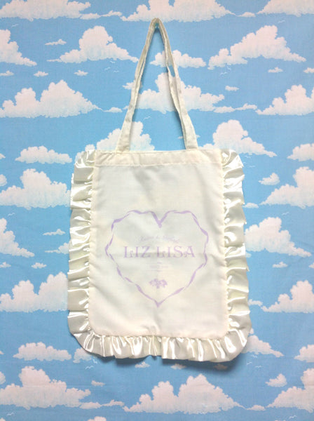 Frill Tote Bag in Ivory x Lavender from Popteen x Liz Lisa