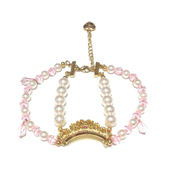Princess Tiara Pearl Bracelet in White x Pink from Angelic Pretty