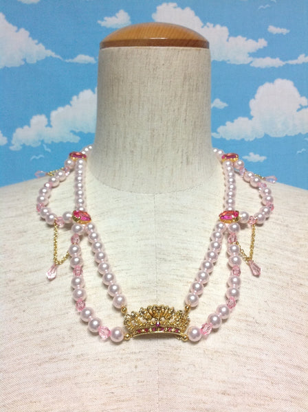 Princess Tiara Pearl Necklace in Pink x Gold from Angelic Pretty
