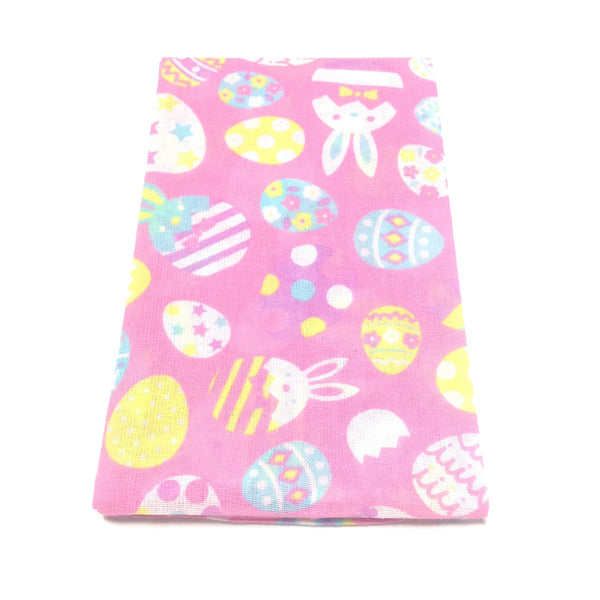Rabbit and Egg Cotton Hand Towel (Tenugui) in Pink