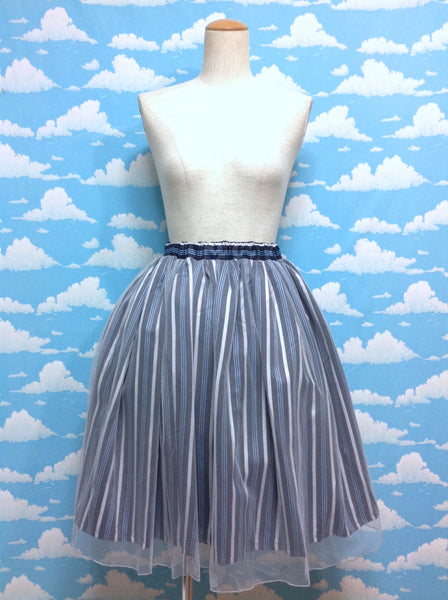 Regimental Stripe Tulle Skirt in Navy from Axes Femme