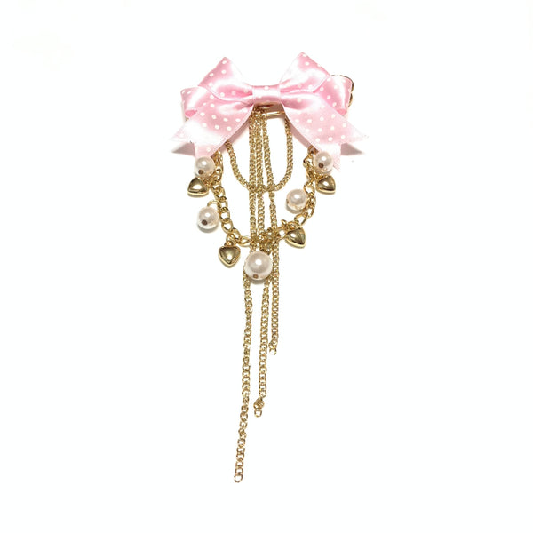 Ribbon Bow Pearl Bead and Heart Charm Pin in Gold x Pink from Angelic Pretty