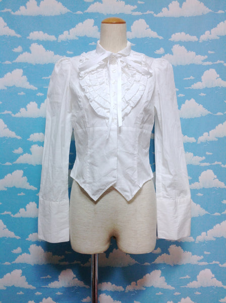 Ribbon Bow Tie Frill Shirring Blouse in White from Black Peace Now