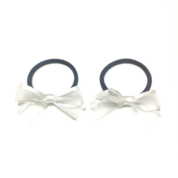 Ribbon Hair Ties in White x Black (Set)