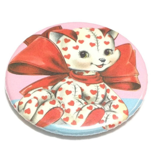 Ribbon Heart Plushie Badge in Red