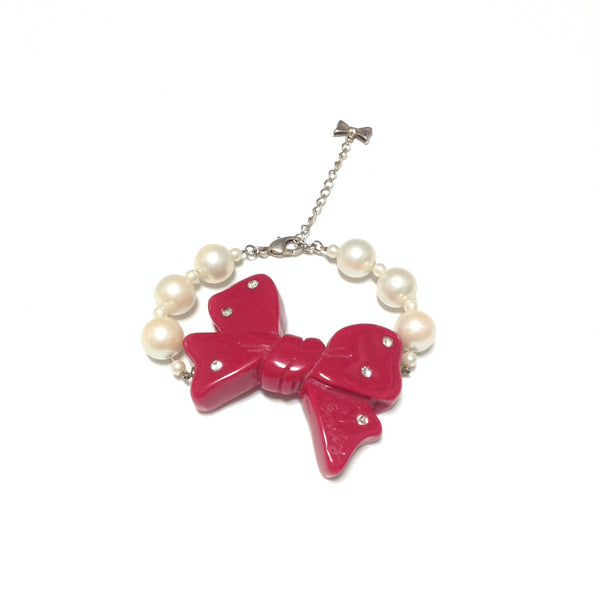Ribbon Pearl Bracelet in Red from Emily Temple Cute