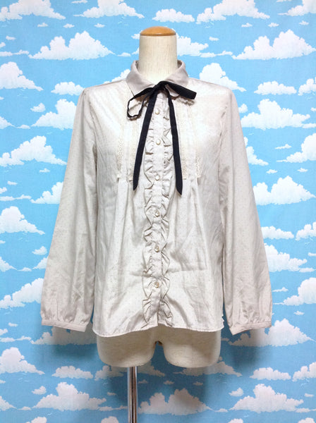 Ribbon Tie Bow Frill and Lace Long Sleeved Blouse in Beige