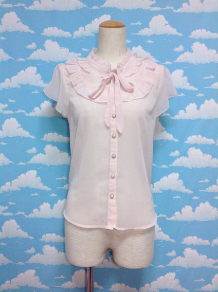 Ribbon Tie Frill Chiffon Blouse in Dusty Pink from Ank Rouge