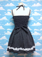 """Romantic"" Halter Ties Dot JSK in Black from Ank Rouge"