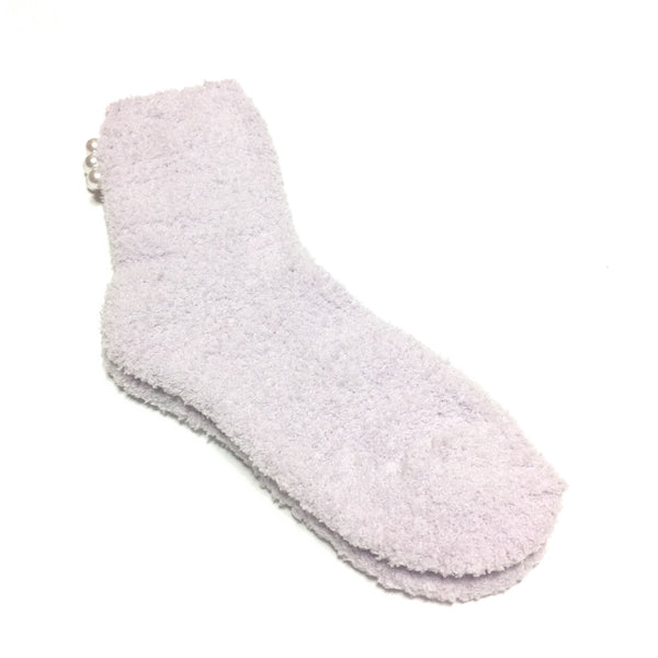 Room Socks with Back Pearls in Lavender