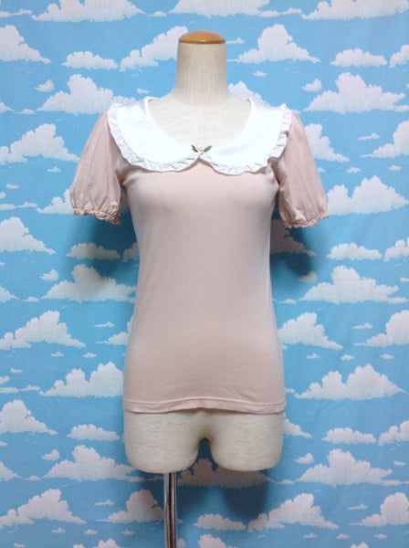 Rose Applique Dot Collar Blouse in Powder Pink from An Another Angelus
