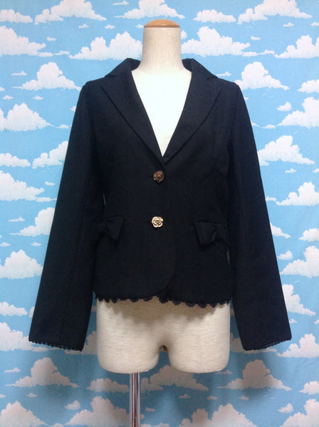 Rose Button Bow Pocket Jacket in Black from Axes Femme