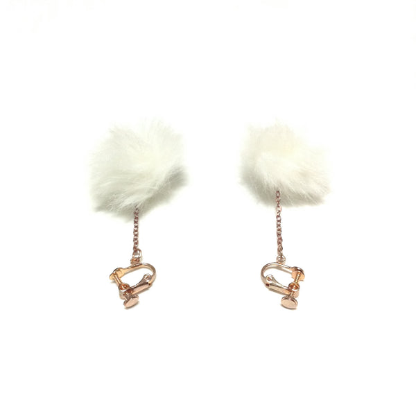 Round Fluffy Clip On Earrings in White