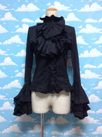 Ruffle Jabot Lace Blouse in Black from Punk Rave