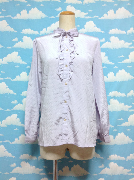 Shiny Ruffle Lace Blouse in Lavender