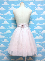 Shirred Tulle Lace Skirt in Powder Pink from Earth Music & Ecology