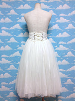 Shirring Corsage Long Tulle Skirt in Ivory
