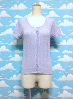 Short Sleeve Knit Lace Cardigan in Lavender