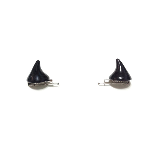 Spooky Horn Hair Clip Pair in Black
