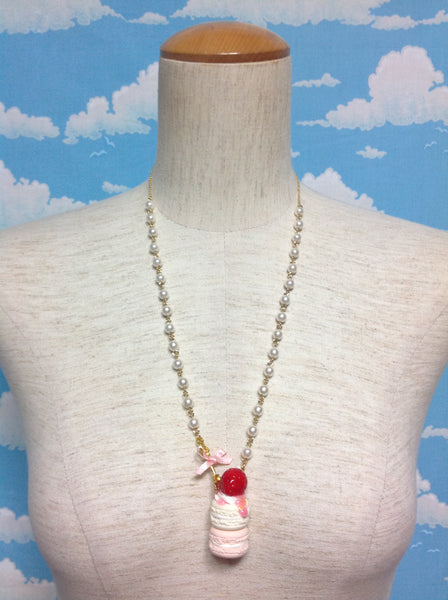 Spoon Strawberry Macaron Necklace