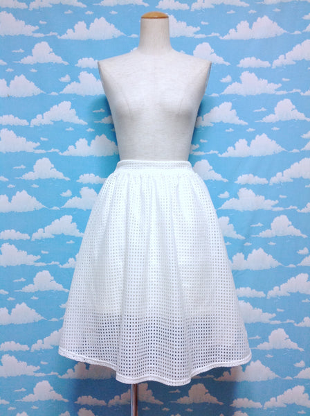 Square Pattern Layer Skirt in Ivory