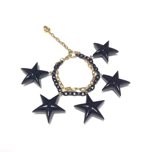 Star Charm Bracelet in Black x Gold from World Wide Love