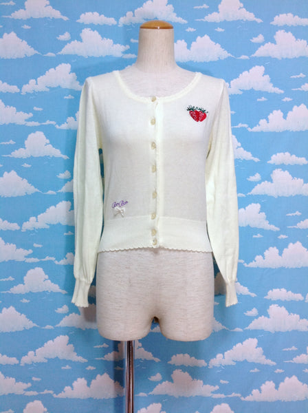 Strawberry Embroidery Cardigan in Yellow from E Hyphen World Gallery