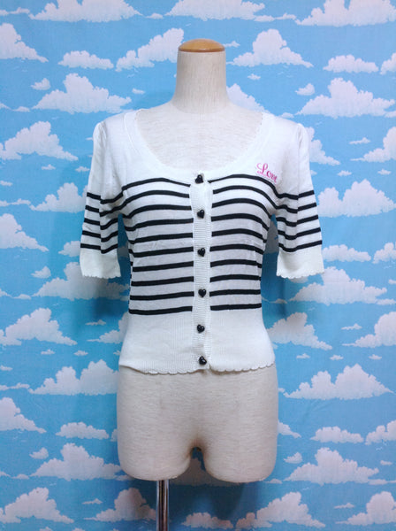 Stripe Heart Button [Love] Cardigan in Off White x Black from SWIMMER