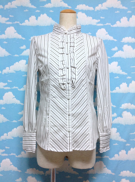 Stripe, Lace and Frill Blouse in Offwhite from Axes Femme