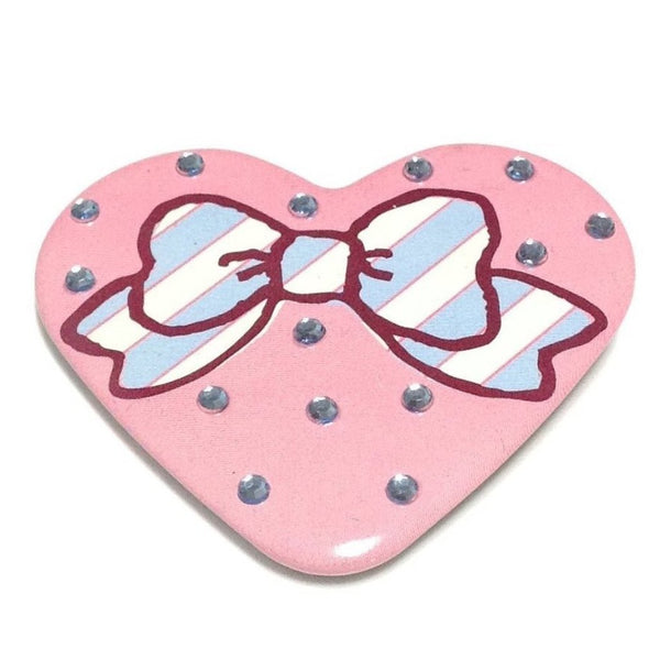 Stripe Ribbon Bow Bling Heart Badge in Pink from SWIMMER