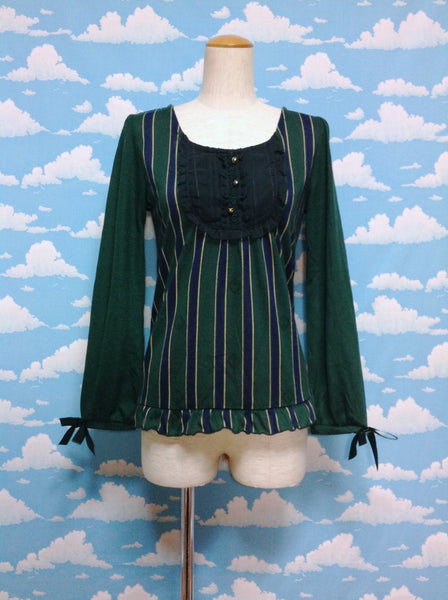 Stripe and Lock Print Cutsew in Green from Axes Femme