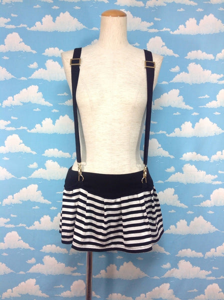 Suspender Stripe Mini Skirt in Black x White from REAL MA*RS