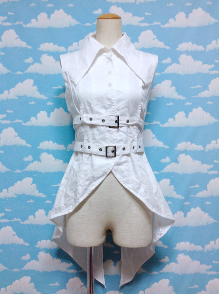 Tailcoat Belt Blouse in White from Black Peace Now