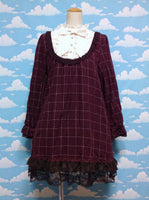 Plaid/Tartan Chiffon Bow and Frill OP in Wine from Axes Femme