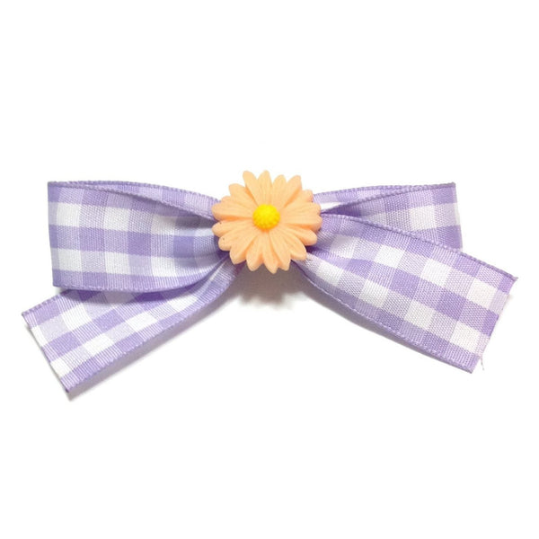 Tartan Flower Barrette in Lavender x Orange