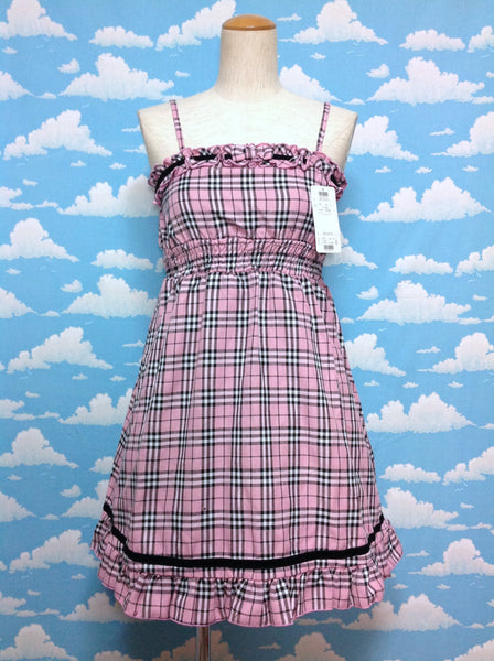 Tartan JSK Frill JSK with Bow in Pink from TRALALA